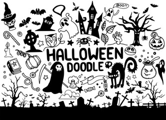 A collection of hand drawn halloween elements! All elements are individual objects. Vector illustration