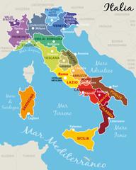 Cartina Italia Regioni E Capoluoghi.Mappa Dell Italia Colorata Con Regioni Capitale E