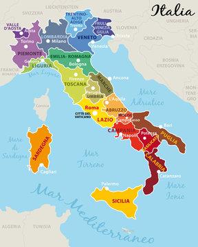 Cartina Italia Con Regioni E Capoluoghi.Italia Divisa In 20 Regioni Con Capitale E Capoluoghi Vettoriale Stock Adobe Stock