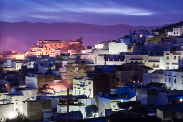 Chefchaouen blue city scene at night