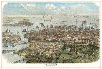 Old aerial view of Boston, Massachusetts.  Created by J.C.W. Aarland, publ. Germany (?)