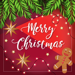 Merry Christmas vector illustration with Christmas Tree Branches and gingerbread man. Greetings card design template