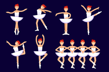 Ballerina different poses in dancing isolated on white background. Ballet vector flat illustration. Ballet dancer, princess, ballerina girl vector stock illustration. Swan lake illustration