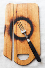 burnt chopping board