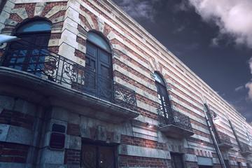 Merida city facades of Yucatan Mexico