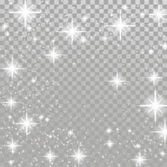 Bright white flickering stars over light grey checkered background