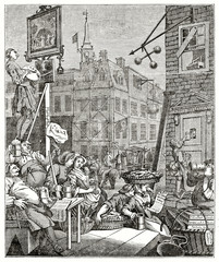 Old engraved reproduction of a print entitled Beer Street. After Hogarth, grayscale execution published on the Penny Magazine, London, 1835
