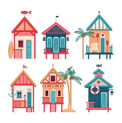 Summer set of vector beach huts.