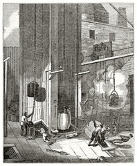 Old grayscale illustration of workers in South Hetton colliery next to the mouth of coal pit, United Kingdom. By unidentified author, published on  Penny Magazine, London, 1835