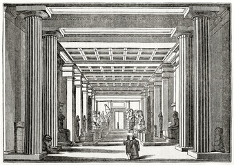 Old grayscale view of the Egyptian room displayed with a central perspective in British Museum, London. By unidentified author, published on Penny Magazine, London, 1835
