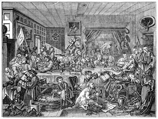 Old humorous illustration of a tavern dinner organised by candidate (Humours of an Election series). People are seated around a table and drink. Created by Hogarth, published on Penny Magazine, Lond