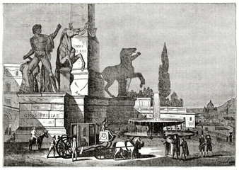 Old grayscale illustration of a ancient fountain close to other monuments. Fontana dei Dioscuri, Piazza del Quirinale, Rome. By unidentified author, published on  Penny Magazine, London, 1835