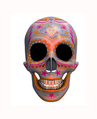 3D rendering of sugar skull isolated on a white background. Halloween background illustration.