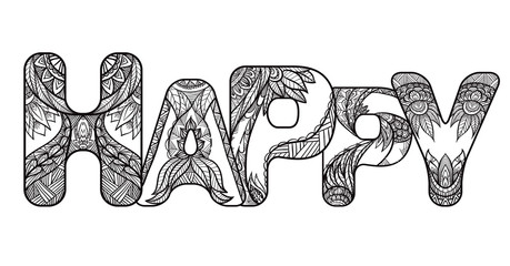 Outline inscription Happy with a boho pattern. Vector doodle element for your creativity.