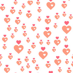 Vector seamless abstract pattern. Pink hearts on white background