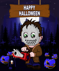 Halloween Design template with killer with mask.