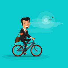 Vector illustration of man riding a modern electric bicycle in cartoon style on turquoise background. Business man in suit going to work by bike. Ebike new future technology in urban transportation.