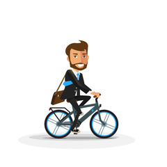 Vector illustration of smiling business man riding a modern electric bicycle in cartoon style isolated on white background. Cyclist in suit going to work by bike.