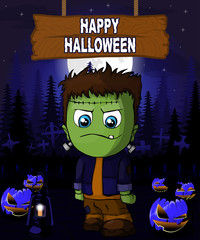 Halloween Design template with Frankenstein.