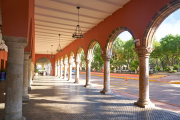 Merida city arcade arcs of Yucatan Mexico