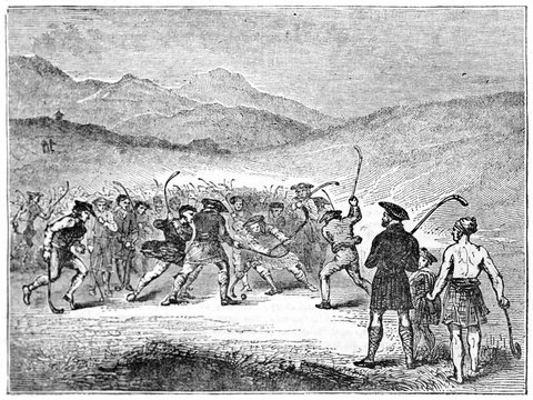Old grayscale illustration of men playing shinty in the Highlands of Scotland. By unidentified author, published on Penny Magazine, London, 1835