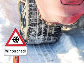 Wintercheck Reifenprofil Warnschild