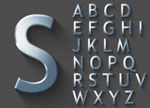 Set of polished steel 3D uppercase english letters. Steel metallic shiny font on gray background. Good typeset for technology and production concepts. Transparent shadow, EPS 10 vector illustration.