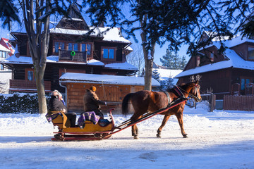 Horse cart ride in snowy Zakopane, Poland