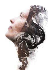 Paintography, hand drawn ink painting combined with the portrait of a brunette woman in stillness despite the watery restless nature of her inner world