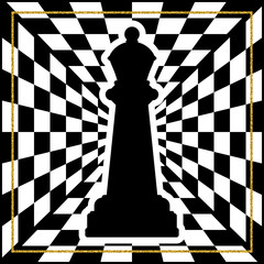 Chessboard with a chess piece Queen and a gold frame. Traditional Christmas holiday game.