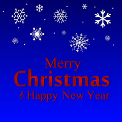 Merry Christmas and Happy New Year text label on a winter