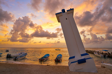 Wall Mural - Puerto Morelos sunrise lighthouse Riviera Maya
