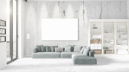 Panoramic view in loft interior with plush divan, empty frame and copyspace in horizontal arrangement. 3D rendering.