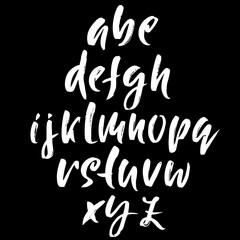 Hand drawn dry brush font. Modern brush lettering. Grunge style alphabet. Calligraphy script. Vector illustration.