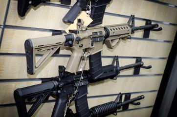 Gun wall rack with rifles