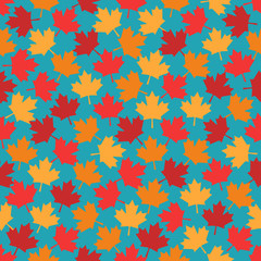 autumn maple leaves seamless pattern on blue background