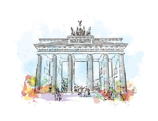 Watercolor sketch with splash of Brandenburg Gate Berlin, Germany in vector illustration.
