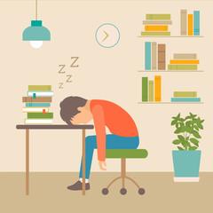 sleeping boy at school, book on desk, vector illustration of sleep
