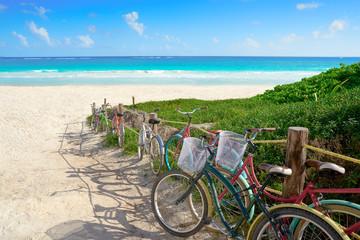 Wall Mural - Tulum Caribbean beach bicycles Riviera Maya