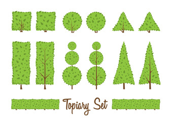 bushesTopiary set. Different basic shape of bushes, trees.