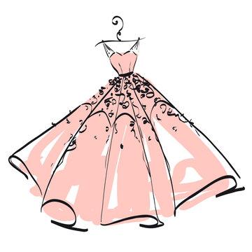 wedding dress design, pink and white,blue