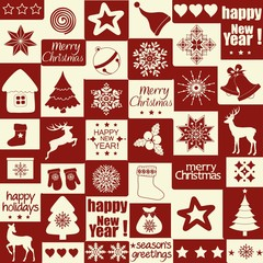 Christmas pattern with holiday inscriptions and elements