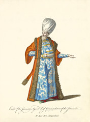 Janissary Agha in traditional dresses. elegant orange coat, blue tunic, big turban, white beard. Old watercolor illustration By J.M. Vien, T. Jefferys, London, 1757-1772