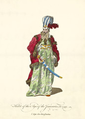 Janissary Agha in traditional dresses in 1749. elegant red coat, green tunic, big turban, scimitar and beard. Old watercolor illustration By J.M. Vien, T. Jefferys, London, 1757-1772