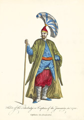 Captain of Janissaries in traditional  militar dresses in 1700. Long stick on the right hand, long coat and large hat. Old watercolor illustration By J.M. Vien, T. Jefferys, London, 1757-1772
