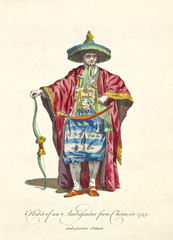 Traditional clothes of chinese ambassador in 1749. Long red mantle, sword and bow, green cone hat, jewlers. Old illustration by J.M. Vien, on T. Jefferys, London, 1757-1772