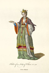 Chinese Lady in traditional dresses in 1700. Long colorful dress richly decorated. Old illustration by J.M. Vien, publ. T. Jefferys, London, 1757-1772