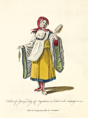 Argentinian Lady in traditional dresses in 1700 with a spool on her right hand. Old illustration by J.M. Vien, publ. T. Jefferys, London, 1757-1772