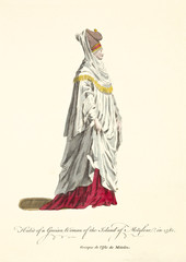 Lady of Mytilene in traditional dresses in 1568. Rich draped clothes. Old illustration by J.M. Vien, publ. T. Jefferys, London, 1757-1772