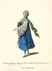 Tinos Lady in traditional dresses in 1700. White shirt, blue dress and veil. Old illustration by J.M. Vien, publ. T. Jefferys, London, 1757-1772